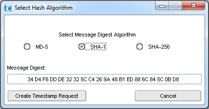 Select timestamp hash algorithm
